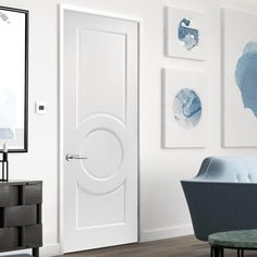 Montpellier 3 Panel White Primed Door is 1/2 Hour Fire Rated - Lifestyle Image. #contemporarydoor