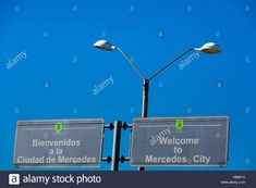 Welcome road sign to Mercedes City, Uruguay.
