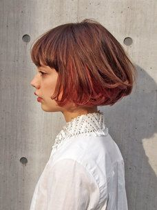 """潔い""""パッツンボブ""""はカラーリングで遊ぶのが旬! Tomboy Hairstyles, Short Bob Hairstyles, Hairstyles Haircuts, Cool Hairstyles, Curly Hair Styles, Natural Hair Styles, Dip Dye Hair, Cut My Hair, Red Hair"""