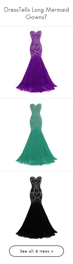 """""""DressTells Long Mermaid Gowns🦋"""" by moon-crystal-wolf ❤ liked on Polyvore featuring dresses, gowns, long dress, long homecoming dresses, homecoming dresses, long beaded gown, tulle prom dress, purple homecoming dresses, long evening gowns and white prom dresses"""