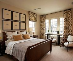 hang curtains near the ceiling rather than the typical placement just above the window trim. This gives the illusion of height; which makes a small window appear larger or a low ceiling higher
