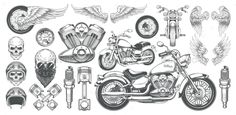 Buy Set of Vector Illustrations, Icons of Vintage by vectorpocket on GraphicRiver. Set of vector illustrations, icons of hand-drawn vintage motorcycle in various angles, skulls, wings in the style of . Bike Drawing, Professional Business Cards, How To Draw Hands, Vector Illustrations, Angles, Skulls, Hand Drawn, Chopper, Vintage
