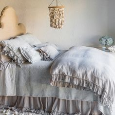 Bella Notte offers luxurious, eco-friendly linens and decor in custom-dyed colors and irresistible textures. The lightweight Whisper duvet cover epitomizes casual elegance for a comfortable and stylish bedroom. Available in several rich shades, this classic bedding accent is finished with a 5in loosely woven gossamer ruffle and tie closure. Each order is custom made in the USA and considered a final sale. Made from 82% rayon/18% silk. Machine wash. Available in three sizes. Insert not in...