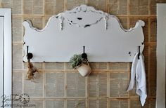 Antique Headboard Coat Rack Wall Hooks - Distressed Cottage White - STUNNING