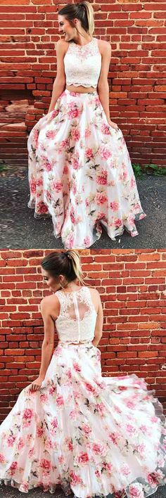 Two Piece Pink Printed Tulle Sleeveless Prom Dress with Appliques PG620 #promdress #eveningdress #twopiece #pgmdress #pink #tulle #lace #partydress
