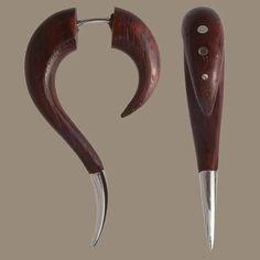 Shop for on Etsy, the place to express your creativity through the buying and selling of handmade and vintage goods. Wood Hooks, Fake Gauge Earrings, Fake Gauges, Red Wood, Wooden Jewelry, Tribal Jewelry, Really Cool Stuff, Beautiful Things, Design Inspiration