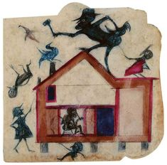 HOUSE WITH FIGURES Poster paint and pencil on cardboard. Bill Traylor worked from a wooden box on the streets of Montgomery, Alabama #art #AmericanFolkArt #naiveart #outsiderart #outsiderartist #drawing #painting #simpleart #BillTraylor #HouseWithFigures For the lives, work, homes & studios of artists visit www.ompomhappy.com