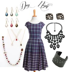 Day or night accessories for your dress outfit #plaid #dress #black #crystals