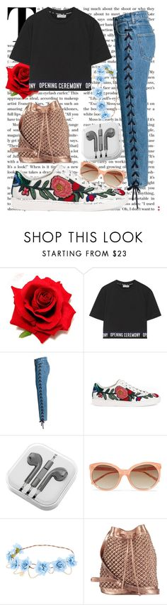 """""""Sin título #1171"""" by together-moon ❤ liked on Polyvore featuring Opening Ceremony, Gucci, PhunkeeTree, Linda Farrow and nooki design"""
