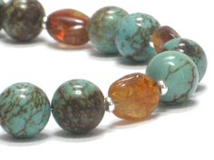 Turquoise Bracelet  Brown Amber Blue Green Sky Swirls by CCARIA, $18.00
