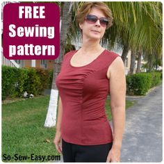 Gathered Front Top.  Make it regular fit for soft drapes for the office, or down a size for flattering exercise wear too!