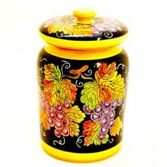 Ceramic olive jar with perforated ladle, decorated with grape on a black background. #Weddinggift Click on the image to learn more about this product. -