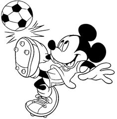 Mickey Mouse Playing Soccer Coloring Page