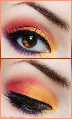 Augen Make-up in Orange, Rot und Lila, feine Eyeliner Linie und Mascara Source by Makeup Inspo, Makeup Inspiration, Makeup Tips, Beauty Makeup, Hair Makeup, Makeup Ideas, Full Makeup, Makeup Tutorials, Makeup Trends