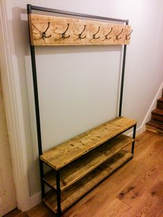 Industrial style hallway stand made from reclaimed scaffold boards and box section steel. In a standard height of and available in three widths with optional second panel of hooks lower down. - 4 hooks - 5 hooks - 6 hooks Hooks will be three arm and Hall Furniture, Industrial Furniture, Furniture Making, Furniture Design, Industrial Coat Rack, Industrial Frames, Rustic Coat Rack, Industrial Style Kitchen, Hall Stand