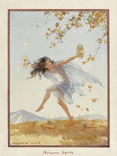 View Autumn Sprite by Margaret Winifred Tarrant on artnet. Browse upcoming and past auction lots by Margaret Winifred Tarrant. Illustrators, Vintage Fairies, Illustration, Painting, Tarrant, Art, Fairy Art, Fairy Tales, Vintage Posters
