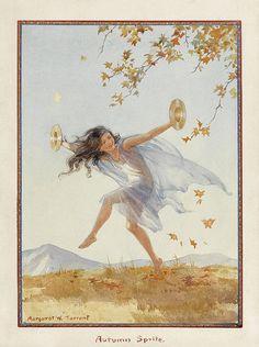 Margaret W. Tarrant (1888 – 1959, English) vintage postcard - Autumn sprite