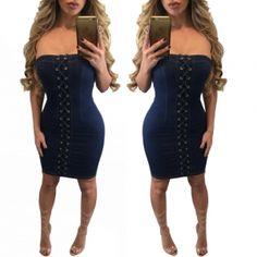 US$8.1 Sexy Lace-Up Denim Tube Dress 23370