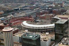 Half old, half new Busch Stadiums. Cardinals Baseball, St Louis Cardinals, Baseball Park, Busch Stadium, Missouri, The Good Place, Around The Worlds, Tours, Mlb