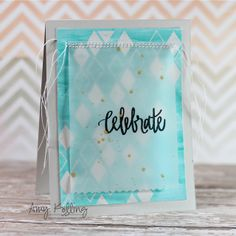 This is just a perfect way to soften a bold background paper: layer it with vellum. Stamp the sentiment in black. Neat And Tangled, Thing 1, Wedding Anniversary Cards, Paper Background, Baby Cards, Homemade Cards, Cardmaking, Birthday Cards, Projects To Try