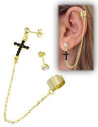 Brinco EAR CUFF folheado a ouro c/ cruz em strass e correntinha-Clique para maiores detalhes