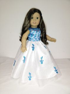 """White and Blue dress gown for American Girl Dolls and 18"""" Dolls."""