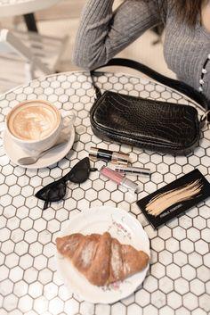 Flatlay Makeup, Flatlay Styling, Makeup Flat Lay, Coffee Business, Chanel Ballet Flats, Coffee Shop, Latte, Shopping, Fashion