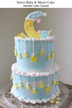 moon cake Learn how to make this adorable Moon and Baby Cake in this member cake decorating video tutorial! We'll show you how to make a cute and creative moon and stars-themed baby shower c Torta Baby Shower, Baby Shower Cupcakes, Simple Baby Shower Cakes, Boy Baby Shower Cakes, Baby Shower Cake Designs, Simple Cakes, Beautiful Cakes, Amazing Cakes, Simple Cake Designs