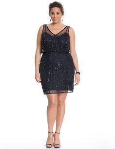 Beaded Blouson Dress By Adrianna Papell