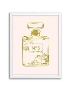 Perfume Bottle Foil Art Print Floral Gold Foil Rose by Chicfetti