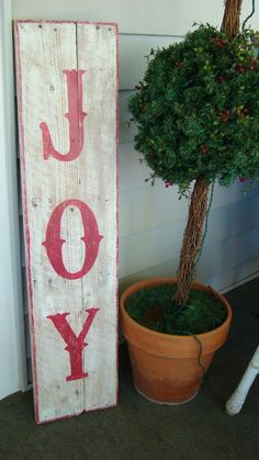 Reclaimed Rustic Wood JOY sign for Christmas by CharmsoftheCoast, $60.00