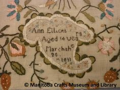 """Detail: Sampler made by Ann Elliott in 1811 when she was 14 years. Text: The one thing needful, that Good part Which Mary chose with all her heart I would pursue with heart and mind And seek unwearied till I find To thee o God to thee I pray Teach me to know and find the way How all my sins may be forgiven And a sinner get to heaven. At the bottom """"Ann Elliot/Aged 14 years/March the 28/1811"""" Craft Museum, Heart And Mind, Pray, Vintage World Maps, Ann, Heaven, March, Embroidery, Detail"""