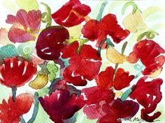 Sweet peas, watercolour by Marie Åhfeldt/Mås Illustra. www.masillustra.se #flower #watercolour #art #masillustra #red