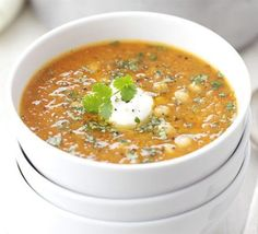 Red lentil, chickpea & chilli soup recipe - Recipes - BBC Good Food - my favourite soup of the moment! Chilli Soup Recipes, Chili Soup, Veggie Recipes, Vegetarian Recipes, Healthy Recipes, Bbc Good Food Recipes, Cooking Recipes, Dinner Recipes, Low Fat Soups
