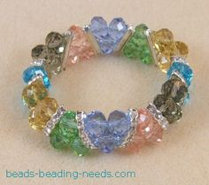 Swarovski crystal stretch bracelet that is easy beading for beginners, these beaded bracelet instructions are fully illustrated, learn how to make a bead bracelet.