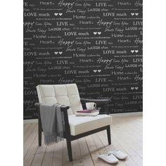 I Love Wallpaper™ Shimmer Wall Quotes Wallpaper Black / Silver - I Love Wallpaper™ from I love wallpaper UK