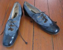 Vintage Mod Leather Spectator Shoes 9,5 low heels