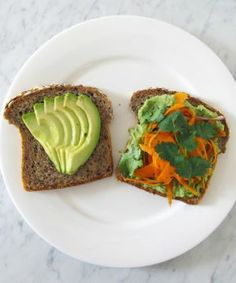 ... bread, avocado slices, carrot salad, herbed white bean spread and