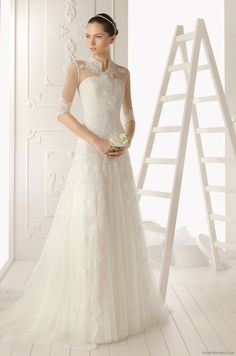 Exquisite Sheath/Column High Neck Half Sleeve Lace Chapel Train Lace Satin Tulle Wedding dresses