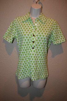NWT  $125 Sz M Tory Burch Lawn Green Sunpine Basic Polo Top Shirt Blouse #ToryBurch #PoloShirt #Casual