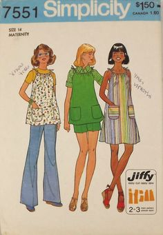 Vintage 70's Sewing Pattern Maternity Dress by SuzisCornerBoutique, $10.00