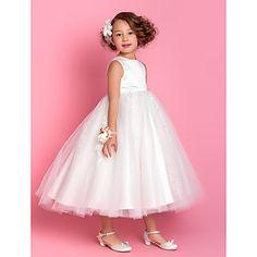 Lanting Bride ® A-line / Princess Tea-length Flower Girl Dress - Satin / Tulle Sleeveless Jewel with Appliques / Beading – USD $ 89.99