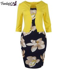 Cheap dress beige, Buy Quality dress africa directly from China pencil skirt dress Suppliers: Fantaist Women Fall One Piece Patchwork Floral Print Elegant Business Party Formal Office Plus Size Bodycon Pencil Work Dresses