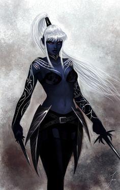 f Drow Elf Rogue Assassin Leather Armor Rapier Dagger Poison female Traveler Forest urban City undercity lg Dark Fantasy Art, Fantasy Women, Fantasy Rpg, Fantasy Girl, Fantasy Artwork, Dungeons And Dragons Characters, Dnd Characters, Fantasy Characters, Female Characters