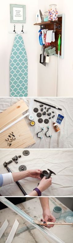 This DIY laundry room storage center makes clever use of black pipe, a towel rack and robe hooks to keep everything tidy and organized. It adds some personality to what is often a not-so-inspiring part of the house. Here's the step-by-step tutorial so you can make your own laundry room storage center. See how to built it on The Home Depot Blog.