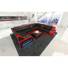 Best Ledercouch PESARO mit LED Beleuchtung schwarz rot