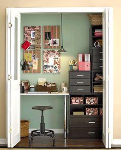desk in the wardrobe