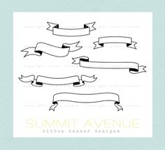 ribbon & banners digital clip art - for photography scrapbook logos or wedding or invitations. $5.25, via Etsy.