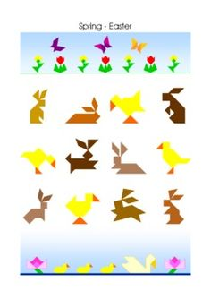 Set 03: Spring - Easter. Most of the puzzles in this set are multicolored. They are more challenging as the 'inline' tangram puzzles but not as difficult as the well known black silhouettes.