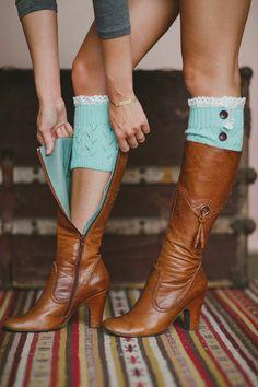 Fashion Boot Cuffs, Lace Trim, Winter Legwarmer, Women's Fall Socks, Stocking Stuffers, For Her, Full Button Cuff in Mint